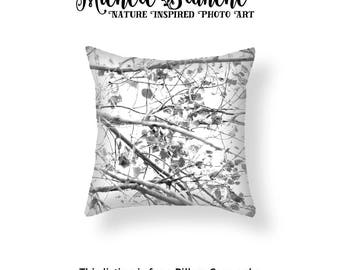 Tree Photo Pillow Cover,  Black White Nature Pillow, Zen Tree Pillow case, Tree silhouette, Leaves Toss Pillow, Black White Zen Pillow Cover