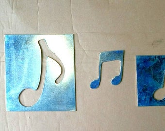 4 musical notes iron, 2 positive and 2 negative, dip cold