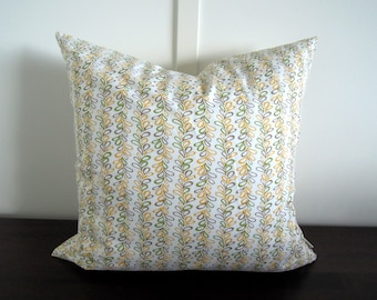 Natural Pillow Cover, Organic Cotton, Green and Yellow, Vines, Daisy Janie, Cotton Pillow Cover, 18x18