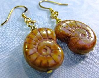 Warm Golden Brown Glass Shell Beads Dangle Earrings