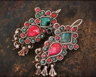 Rajasthani Earrings with Glass - Indian Tribal Earrings - Rajasthani Silver - Tribal Earrings - Rajasthani Jewelry