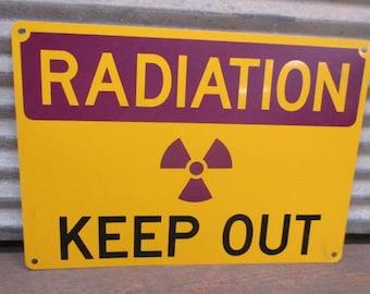 14 x 10 Radiation Sign, Keep Out Metal Sign, Man Cave Decor, Apocalypse Decor, Metal Radiation Sign, Caution Sign, Radioactive Sign, Danger