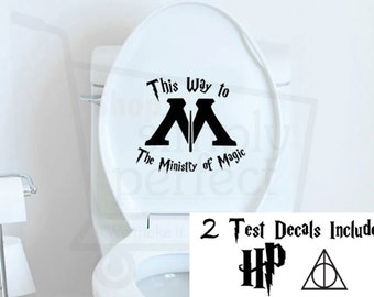 Harry Potter Toilet Decal, Ministry of Magic This Way To The Ministry of Magic - by Shop Simply Perfect