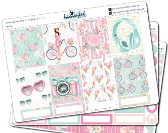 Summer in the City Mini Kit | MK04 | Planner Stickers for Erin Condren Vertical Planners - Physical Item | The Hummingbird Planner