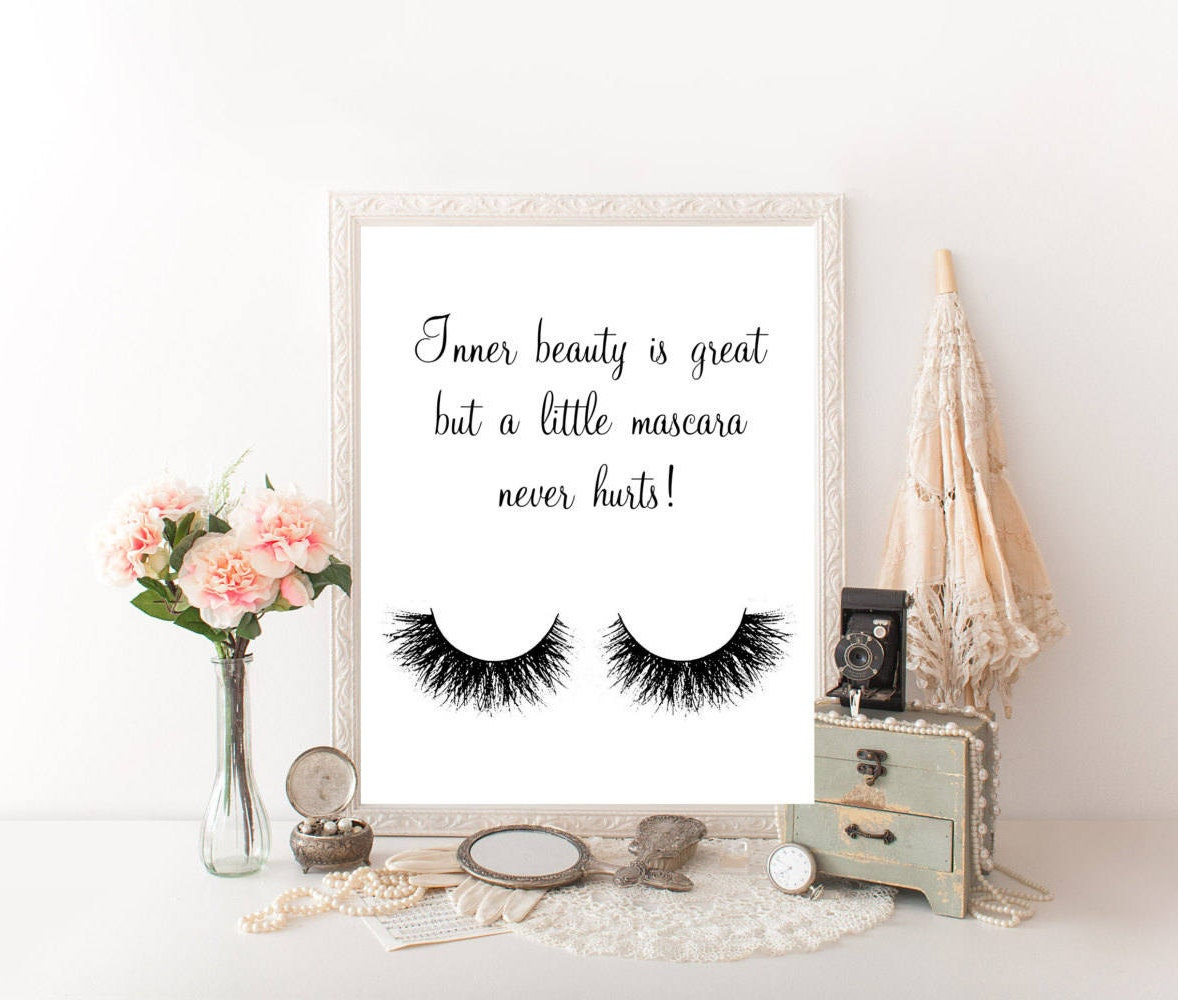 Mascara Quotes Makeup Quotes Makeup Wall Decor Makeup Decor Makeup Canvas