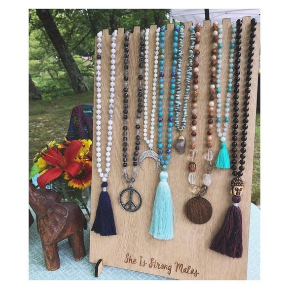 Make Your Own Jewellery Display Board: Mala Necklace Display W/ Custom Logo 9 Necklaces Wooden