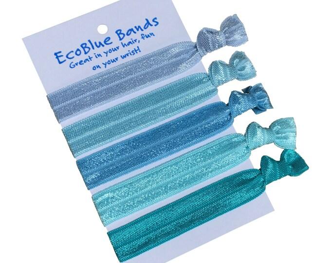 5 hair elastics, soft stretch hair ties, ponies, yoga hair ties, bracelets, ponytail holders - Blue Tones