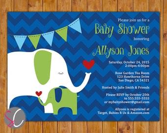 Elephant Baby Shower Invite Lime Green Navy Blue Chevron Boy Shower Sprinkle Invitation Bunting Printable 5x7 Digital JPG Invitation (506)
