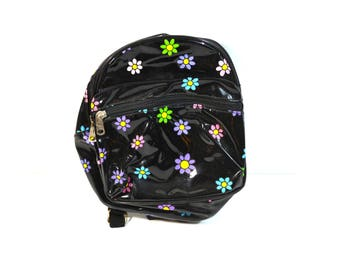 Vintage Daisy Backpack Black Pvc Vinyl Backpack Mini Backpack Purse 90s Backpack 90s ClubKid Cyber Rave Kawaii Backpack