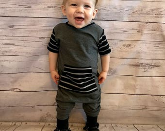 Baby romper- Toddler romper- Charcoal gray & black stripe romper- Baby coming home outfit- Boy winter outfit-  Harem romper