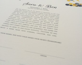 Modern Ketubah Yellow Blush abstract minimalist watercolor art print Ketubah - Jewish Marriage Certificate