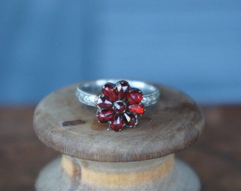 LIMITED EDITION Antique Garnet and Silver Conversion Ring