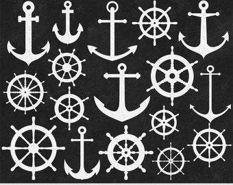 Chalkboard Nautical Clipart White Anchor Clipart Ship Wheel Clipart Chalkboard Clipart Scrapbooking Invitations Chalk Board