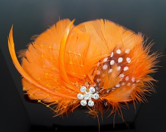 Orange and Black Feather Hair Comb Clip Pin