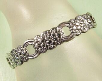 Oneida Silverplate Cuff Bracelet - Vintage Flower Repousse
