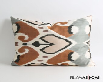 silk ikat pillows double side heart pillow, brown, white, gray, black decorative throw pillow cover accent pillow