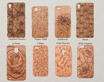Floral Design Wood Phone Case HTC One M9 M10 LG G4 G5 Sony Xperia Z5 Z3 and Z3 Z5 Compact or mini Original Custom Design Cherry Wooden Cover