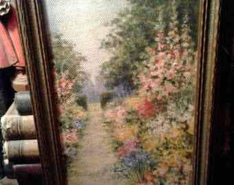 Charming English garden original floral oil painting 1930's