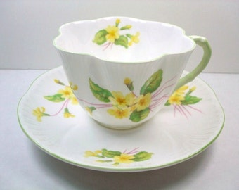 Vintage Shelley Tea Cup & Saucer, Shelley Dainty Primrose Tea Cup Set, Shelley Yellow Primrose Teacup and Saucer, Shelley Yellow China