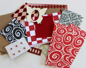 Red or Neutral Canvas Corp Sampler Pack- 1/4lb of Paper, Metal, Cloth Ephemera for Scrapbooks, Collages & Paper Arts