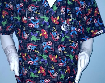 Avengers Thor Retro Scrub Top Hulk, Capt America,Iron man Marvel 12cent !! Especially tailored for MEN/Gals:nurses,Pa, Md, techs, dental,vet