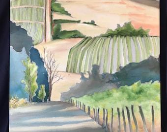 Landscape Rows      24 x 30       Original Watercolor Batik