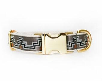 Grey aztec design dog collar, adjustable geometric pattern, cotton webbing, brass hardware