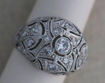 Vintage Platinum and Diamond Domes Filagree Ring