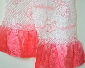 Silk Kimono Sash/Obi Belt/Kimono Obiaga/Vintage Japanese Kimono Robe Obi Sash/ Floral Shibori Pink Ombre Obiaga