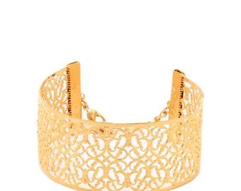 Gold Cuff Bracelet, Arm Cuff, Gold Bracelet, Lace Cuff Bracelet, Lace Bracelet, Bridal Jewelries, Wedding Jewelry, Band Bracelet