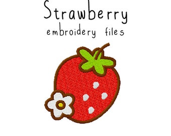 Strawberry EMBROIDERY MACHINE FILES pattern design hus jef pes dst all formats berry fruit summer Instant Download digital applique cute