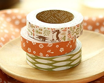 3 Set - My Buddy Orange Forest Tree Adhesive Fabric Tapes (0.6in)