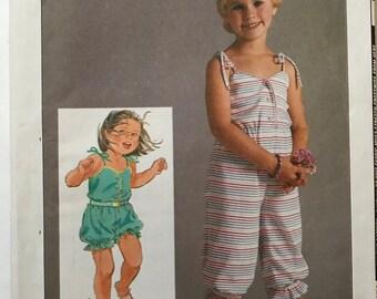 Girls Vintage Romper Pattern 80s Simplicity 6818 Girls Size 4,5,6