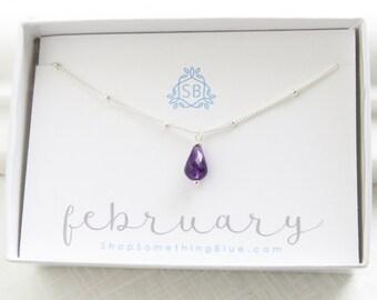 Février anniversaire cadeau collier améthyste • pointillé chaîne • améthyste Pierre de naissance • violet • février naissance délicat collier de pierres précieuses
