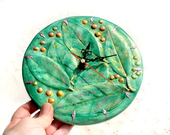 Round Wall Hanging Clock Plaster Cast Relief Original Design Decorative Clock Green Folliage+ Touches of Gold Home Decor Made in Israel