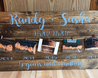 Anniversary sign. Wood. Rustic decor. Picture hanger.