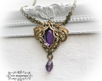 Amalthea necklace-Victorian gothic bronze necklace-Gothic jewelry-Necklace with amethyst
