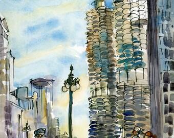 Chicago Marina City Corn Cob Towers, print of a watercolor sketch, fine art print