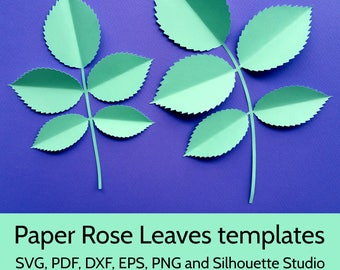 Paper Rose Leaves Template SVG DXF PDF png cut files for Cricut and Silhouette. Beautiful rose leaf design for paper roses and flowers.