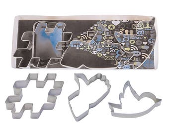 Social Media Cookie Cutter set Facebook Cookie Cutter Twitter Cookie Cutter Like Button Cookie Cutter Hashtag Cookie Cutter RM-1953
