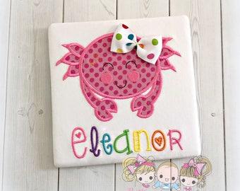 Pink crab personalized shirt - girls crab shirt - pink polka dot crab - beach themed embroidered shirt - summer themed shirt - summer crab