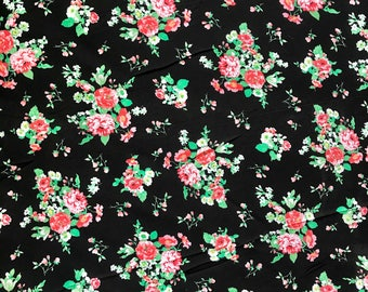 """100% Organic Rayon Challis Floral Print Fabric Sold By The Yard 58"""" Wide"""