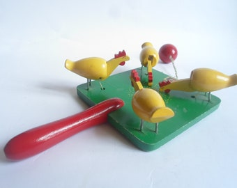 Vintage Wood Swedish Brio Green Pecking Feeding Chickens Hens Toy Hand Painted Souvenir