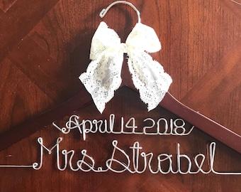 Mrs Wedding Dress Hangers, Bridal Personalized Hangers, Gift, Wire, Custom, Dress, Handmade