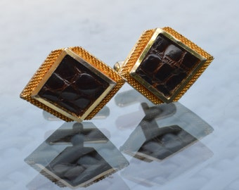 1970s Cufflinks - Gold Tone Fittings with Dark Brown Faux Leather insert Panels -Diamond Shape -  Gift Box