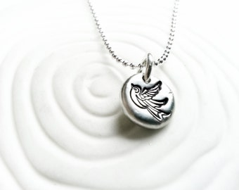 Tattoo Sparrow Necklace- Hand Stamped, Personalized Bird Necklace - Tiny Bird Charm