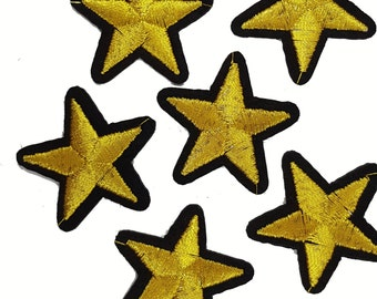 Iron On Gold Embroidered STARS Patch Appliques for DIY Fashion Crafts 5 PCS