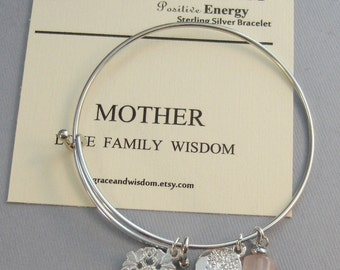 Mother,Silver Bracelet,Tree of Life,Mom Bracelet,Tree Bracelet,Rose Quartz,Rose Quartz Bracelet,Mothers Day,Family,Love,Widsom,Mom Jewelry