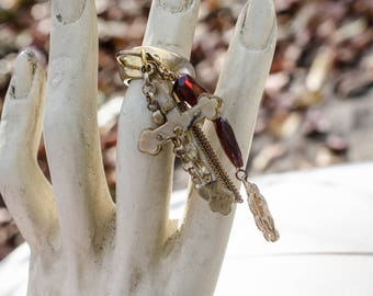 GARNET and VERMIEL ring with with dangles