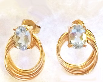 Aquamarine 14K Gold Post Earrings Est. 2 carats 1.9 Grams